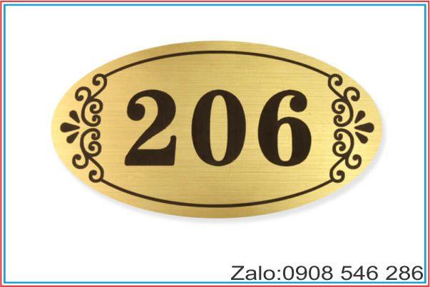 bảng số phòng inox hình oval