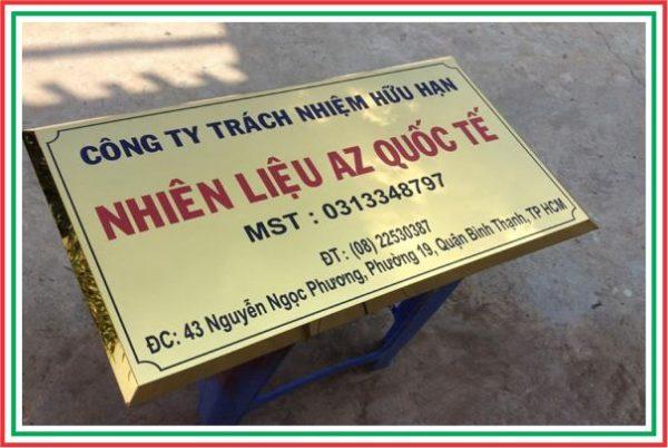 bảng tên công ty inox vàng gương in UV