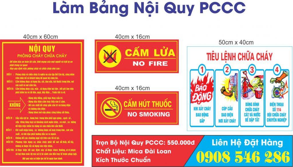 bảng nội quy PCCC