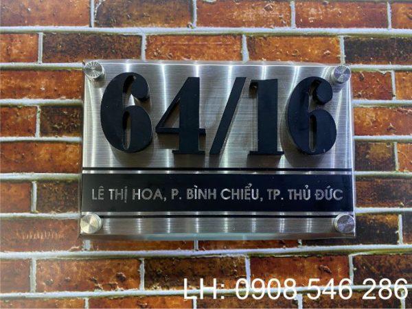 biển số nhà inox chữ nổi mica