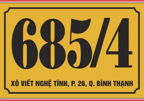 bảng số nhà mica vàng đồng
